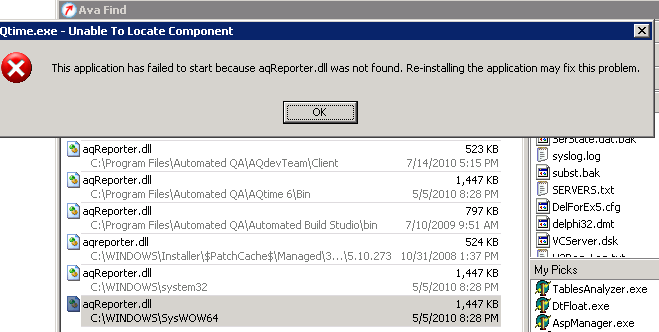 Application does not start because of aqReporter.d... - SmartBear