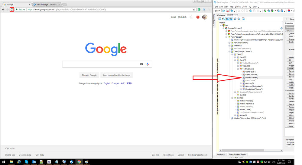 Reload button can be recognized properly when Chrome window is not maximized