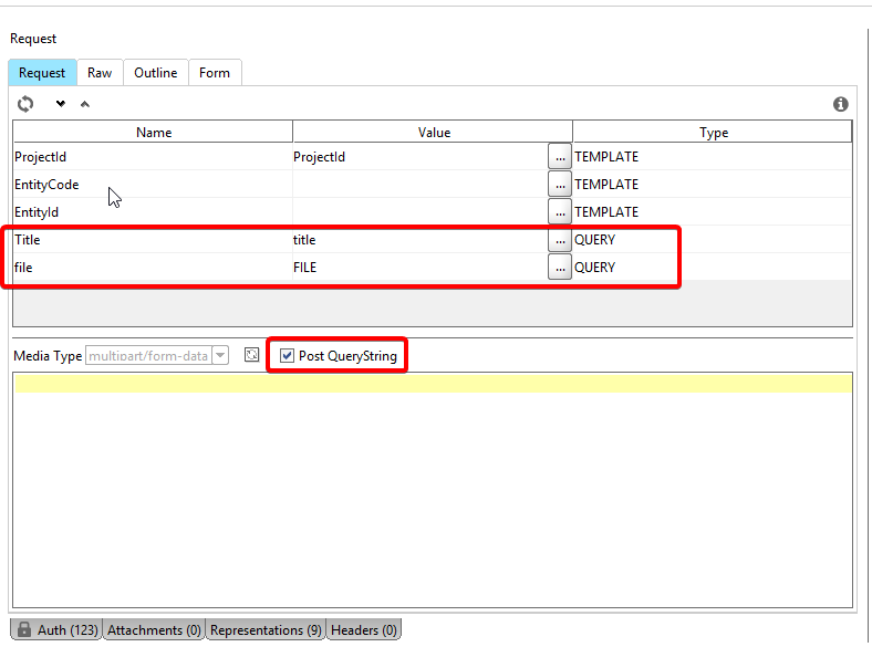 Solved: Submitting a multipart/form-data request generates